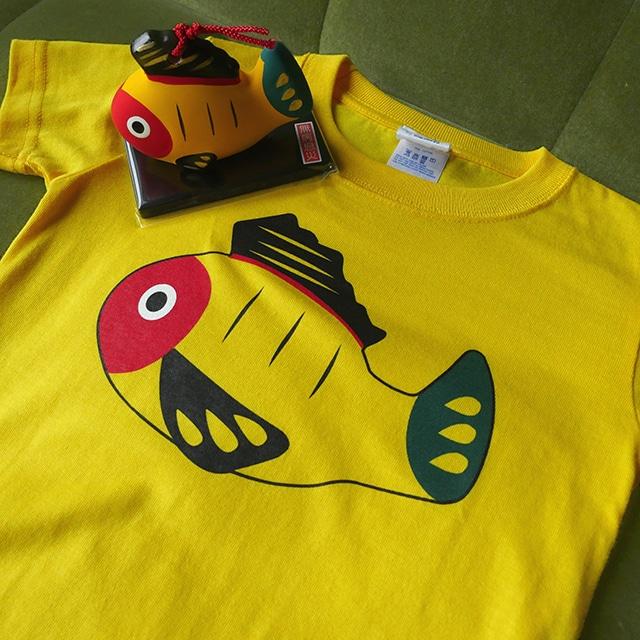 【送料無料】キッズ黄ぶなTシャツと土鈴のセット【疫病退散シリーズ】