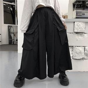 ガウチョパンツ ストリート系 ゴシック 黒 ポケット 夏 レディース ロングパンツ カジュアルパンツ 大きいサイズ ゆったり メンズ 男女兼用2769