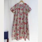 綿麻フラワープリント Aドレス/半袖