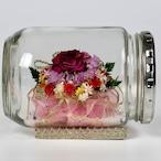 ボトルフラワー 赤紫バラと小花(ドライフラワー)【ガラス製】