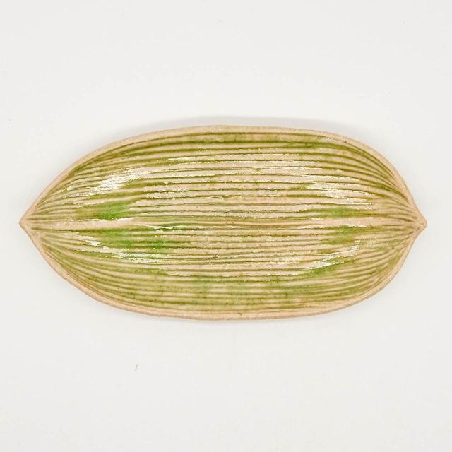 【限定1点 アウトレット品】信楽焼 笹の葉 豆皿 253646 豆豆市111