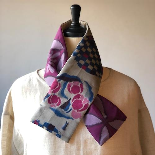 銘仙×リネン刺繍の小さな襟巻き2001/八月のうさぎ 着物 古布 リメイク ストール プチマフラー ネックウォーマー