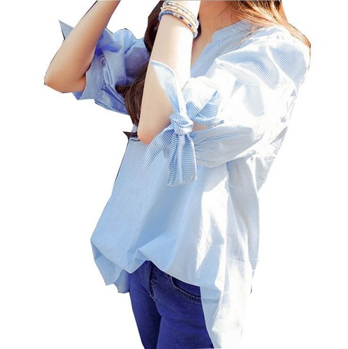 予約 レディースファッション ストライプシャツ ブラウス レディース スキッパー 五分袖 リボン 通勤 オフィス トップス ブルー 青 柄 f1006