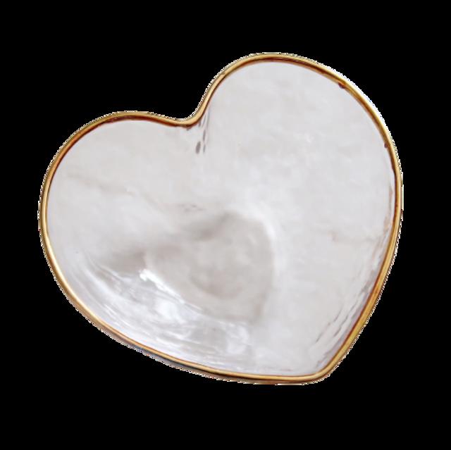Gold line glas heart petit bowl / ゴールドライン ガラスハート プチボウル