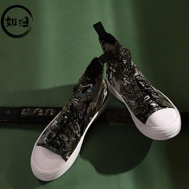 【如旧シリーズ】★刺繍靴★メンズブーツ シューズ 龍 チャイナ風靴 カジュアル 合わせやすい 黒 サイズ39-44