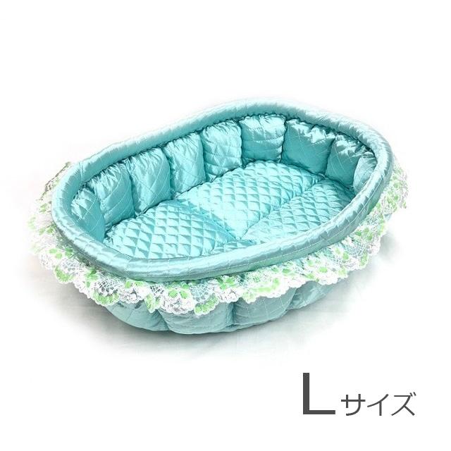 ふーじこちゃんママ手作り ぽんぽんベッド(サテンミント) Lサイズ 【PB9-035L】