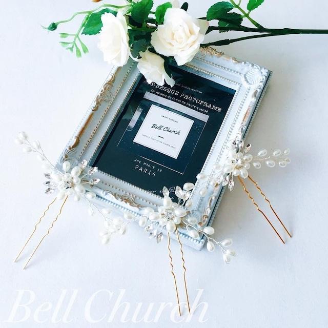 ヘッドピース パール お花モチーフ (BC-H11)|ウェディングアクセサリー