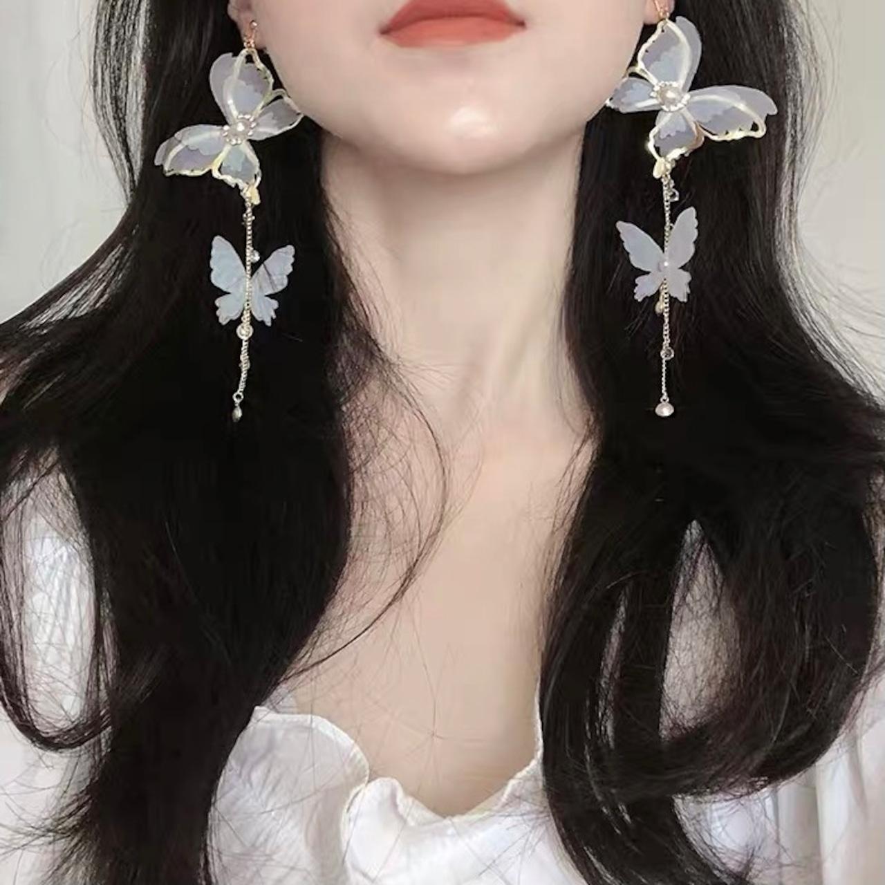 butterfly long earrings