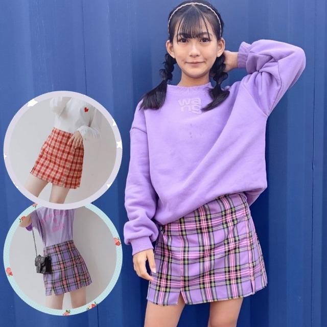 100~160cm 2カラー★ スカート ミニスカート ショート丈 チェック柄