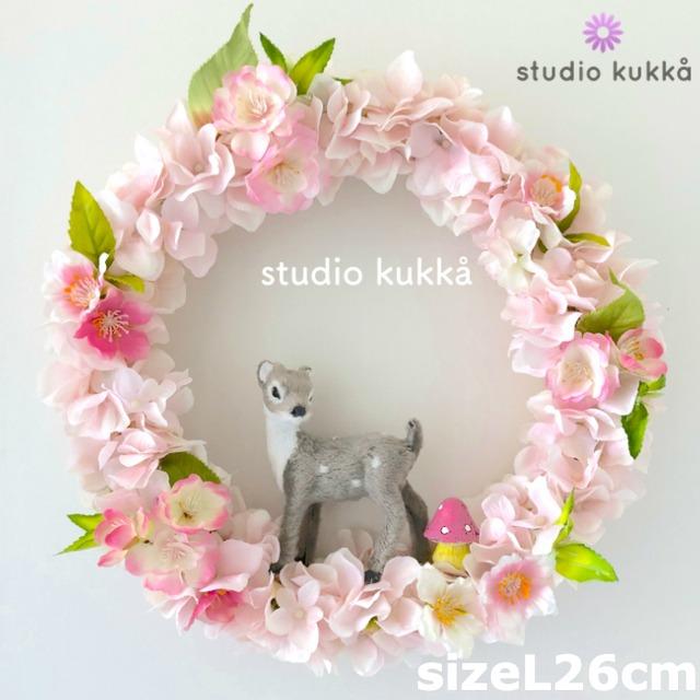 *送料無料*<受注製作> 直径26cm(Lサイズ)♡バンビと桜のリース ピンクアジサイミックス ひな祭り きのこ 春リース チェリーブロッサム