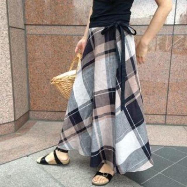 【再販】上質リネン マキシ丈サーキュラーラップスカート【モカベージュ】