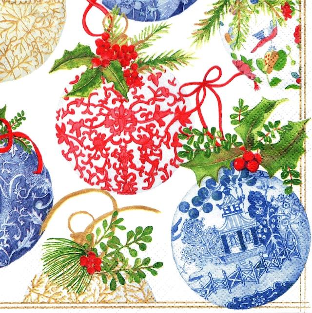 【Caspari】バラ売り1枚 ランチサイズ ペーパーナプキン Porcelain Ornaments パールホワイト