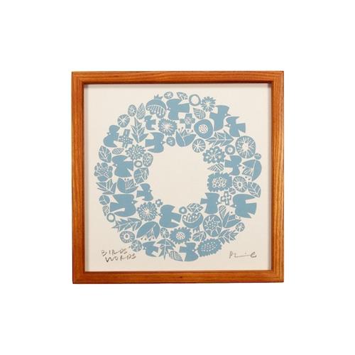 BIRDS' WORDS(バーズワーズ) Silk Screen 20 Wreath アイボリー/ブルー 額装タイプ