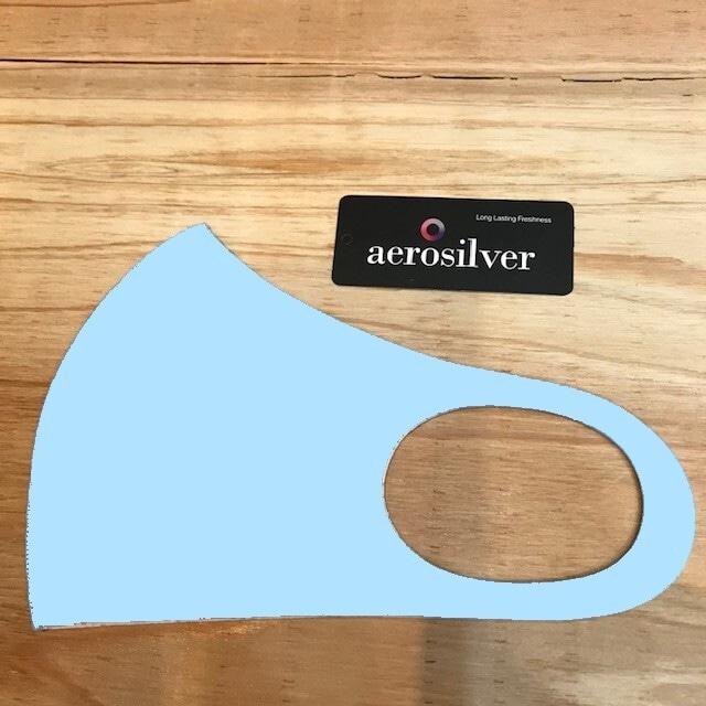 冷感接触洗えるマスク ライトブルー aeroslverファブリック使用 綺麗なフェイスライン♪