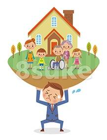 イラスト素材:マイホームと家族を支えるビジネスマンのイメージ(ベクター・JPG)