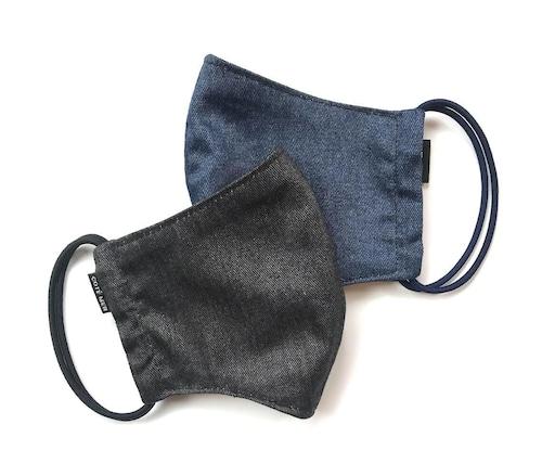 【新作夏用プリントデニムマスク2枚セット 吸水速乾COOLMAX使用 日本製】ブラック×インディゴ色