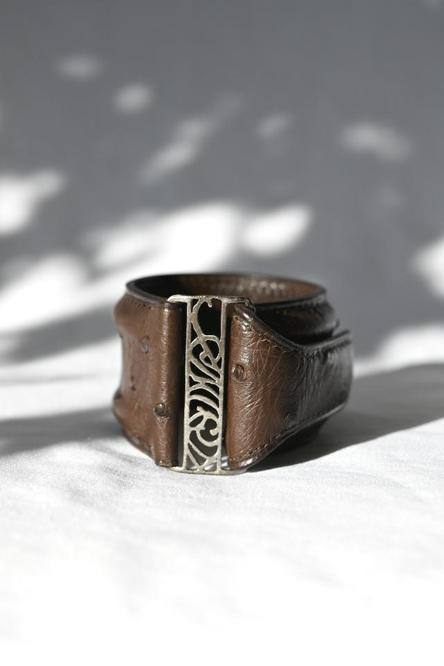 Ostrich Leather Bracelet Blown&Silver オーストリッチレザーブレスレット 茶×シルバー