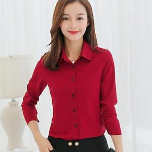 C1598ワイシャツ レディース トップス Yシャツ 長袖 ブラウス 白 赤 紺 OL 通勤 ビジネス 襟 夏 シフォン