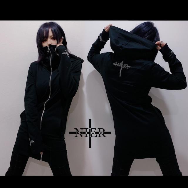 指穴付きSTYLISH BLACK ZIP PARKA【Ladies】
