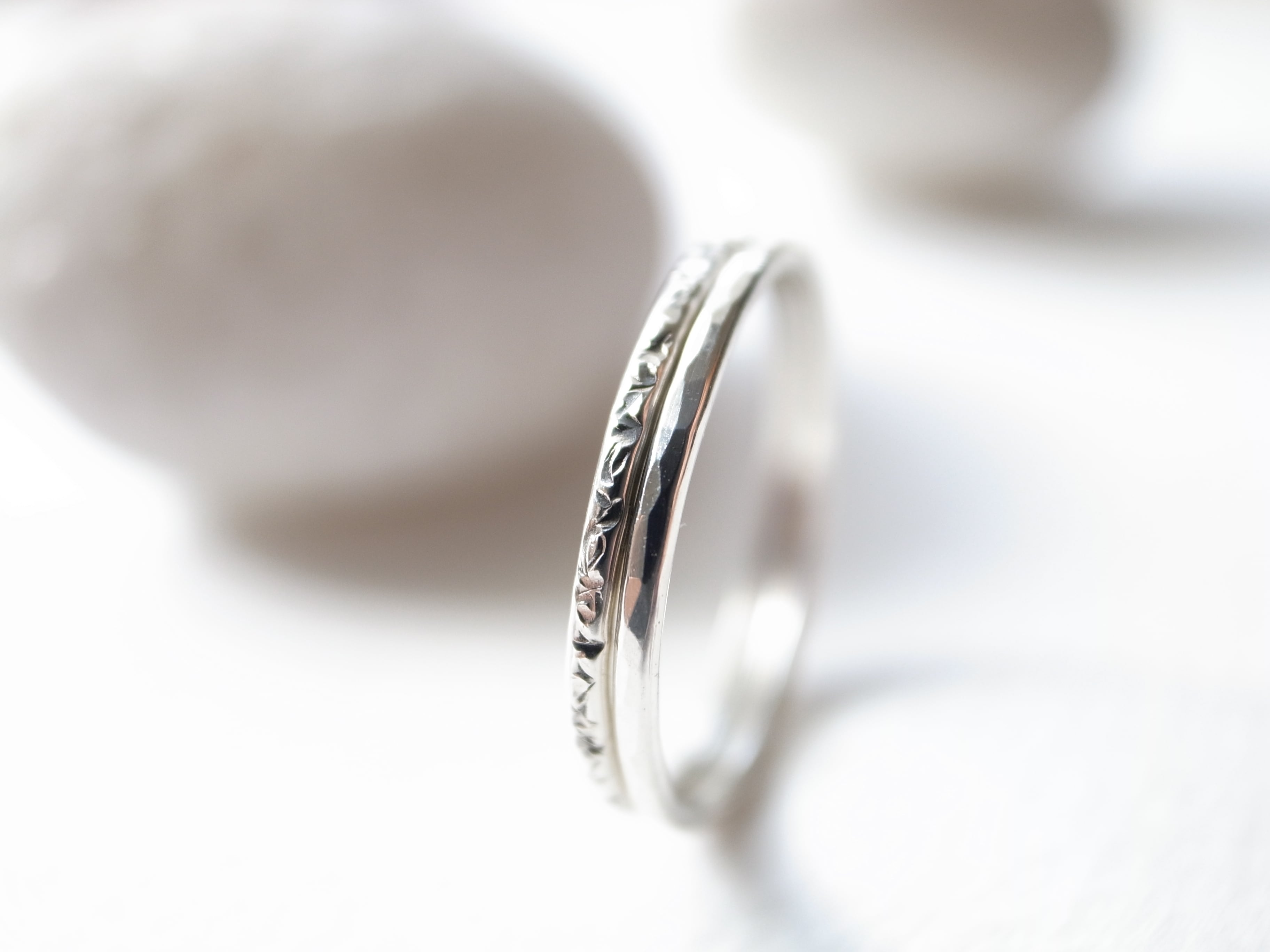 【set ring】 silver950/stardust & silver950/tsuchime