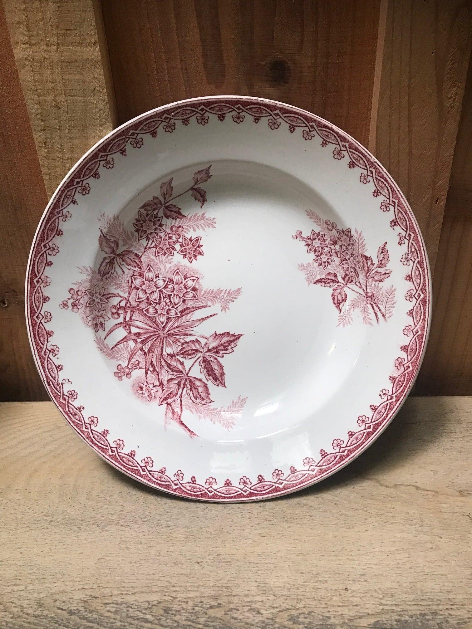 1880年代 フランスアンティーク ボタニカル柄 プレート 皿 B