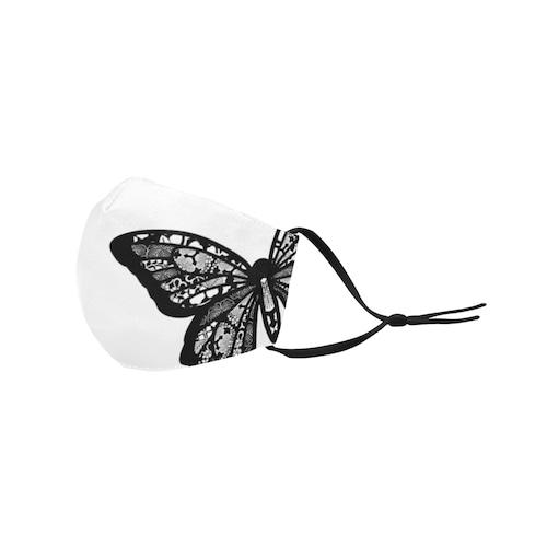 家紋透かし黒蝶 和柄ファッションマスク フィルターポケット付