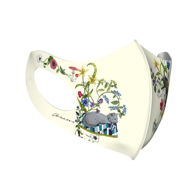 ◆受注生産◆オリジナルプリントマスク◆「猫たち・花たち」柄マスク