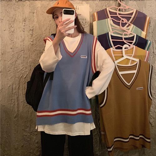 【6カラー】 ニットベスト Vネック 韓国ファッション レディース ラインベスト トップス ニット ライン入り トラッド ゆるかわ DTC-600984449922