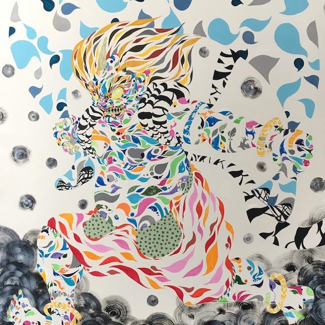 絵画 絵 ピクチャー 縁起画 モダン シェアハウス アートパネル アート art 14cm×14cm 一人暮らし 送料無料 インテリア 雑貨 壁掛け 置物 おしゃれ 風 神 神様 日本 日本画 カラフル 現代アート ロココロ 画家 : nob 作品 :  風神