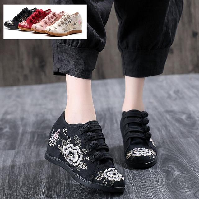 4colors 刺繍靴 手作り靴 チャイナ靴 中国風靴 民族風 レトロ チャイナドレス靴 ズック ゴム 34 35 36 37 38 39 40 41