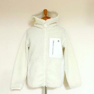 Leather Pocket Pile Hooded Jacket White