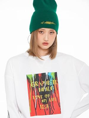 【MANG】グラフィティペイント&アーム刺繍 ロングスリーブTシャツ