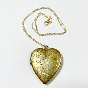 1940's Vintage GF Hand Carved Heart locket Pendant Necklace
