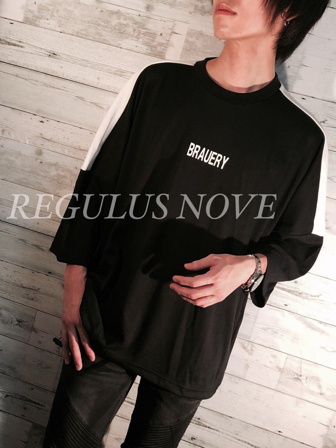 配色切替ロゴプリントスムースBIG半袖Tシャツ BLACK ユニセックス レディース メンズ オーバーサイズ 大きいサイズ 派手 個性的 ストリート ロック