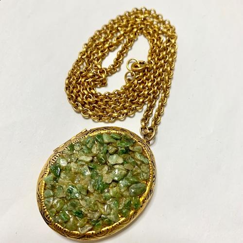 Vintage Jade Chip Locket Pendant Necklace