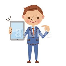 イラスト素材:タブレット端末を持つ若いビジネスマン(ベクター・JPG)