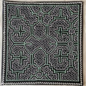 刺繍 中型 白とエメラルドグリーン 33x33cm シピボ族の手刺繍 タペストリー
