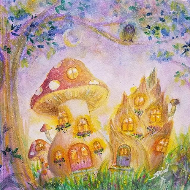 絵画 絵 ピクチャー 縁起画 モダン シェアハウス アートパネル アート art 14cm×14cm 一人暮らし 送料無料 インテリア 雑貨 壁掛け 置物 おしゃれ  アクリル画 パステル画 月 森 水彩画 ロココロ 画家 : Satoko Rin 作品 : 月あかりの森で