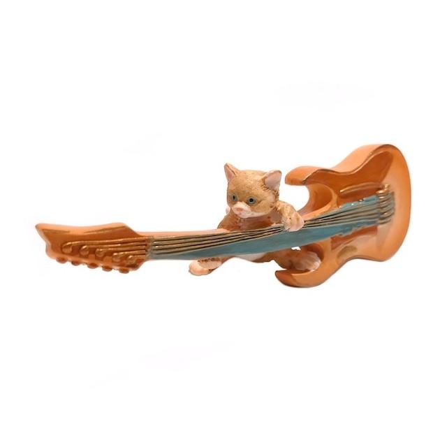 ギター猫 ねこ キャット ロック 音楽 ev14144a エレキギター ミュージシャン かわいい 置物 オブジェ かわいい 置物 置き物 オブジェ ミニチュア 小さい ギフト ミニチュアアニマル 贈り物