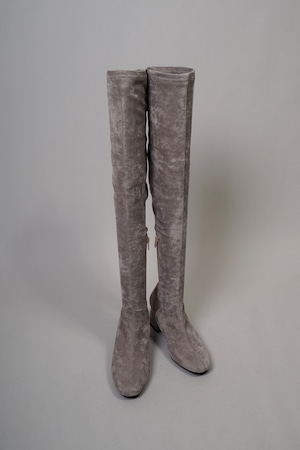 FAUX SUEDE KNEE HIGH BOOTS  (GRAY) 2109-04-5