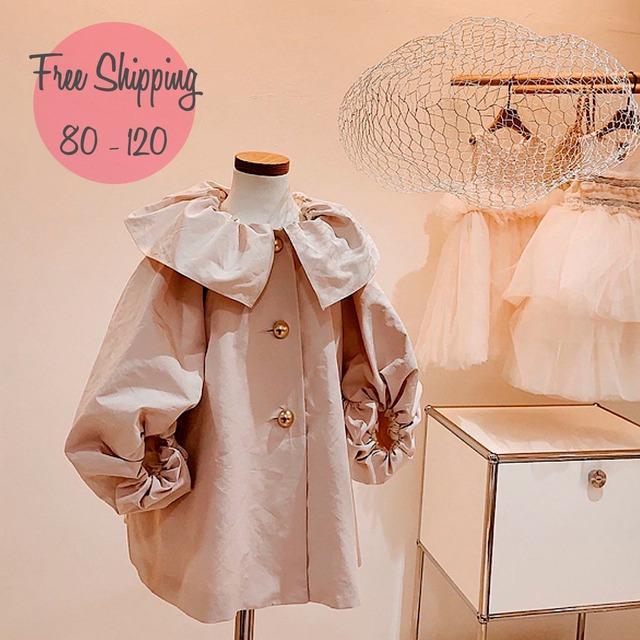 【80-120】韓国子供服 ❤ パフスリーブ コート (566)