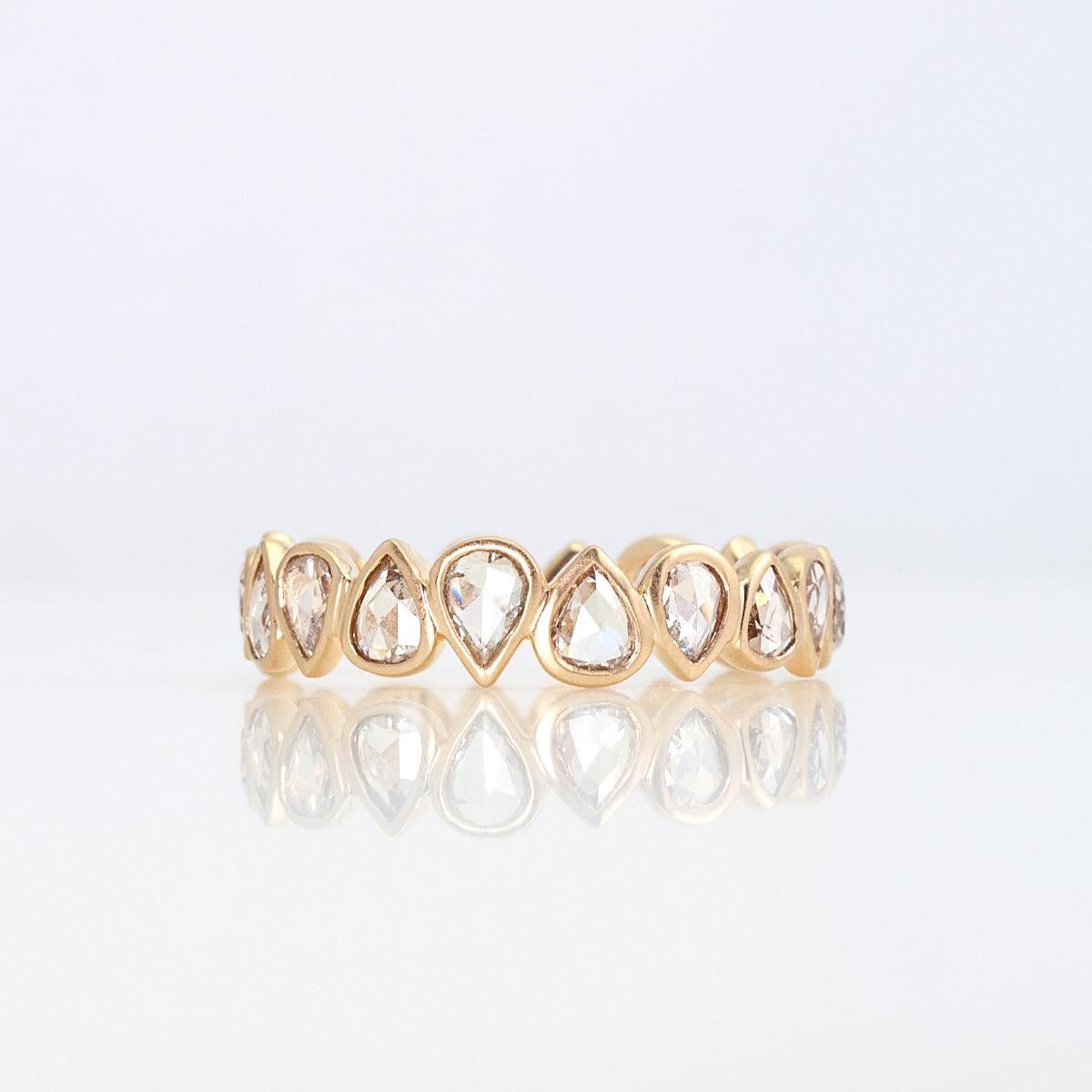 Rosecut diamond full eternity ring / pear shape