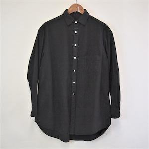 <OSOCU>知多木綿×名古屋黒紋付染 真っ黒な ロングシャツ サイドスリットデザイン
