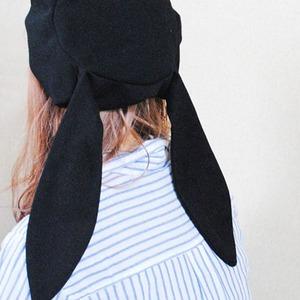 帽子 うさぎみみ帽子 レディース かわいい帽子 黒5607