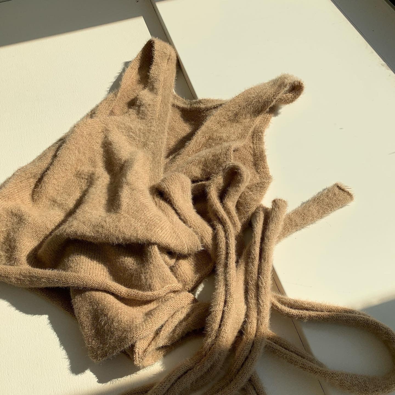 fluffy unique knit bustier