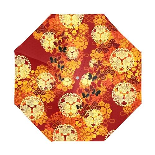華と蝶 折りたたみ日傘