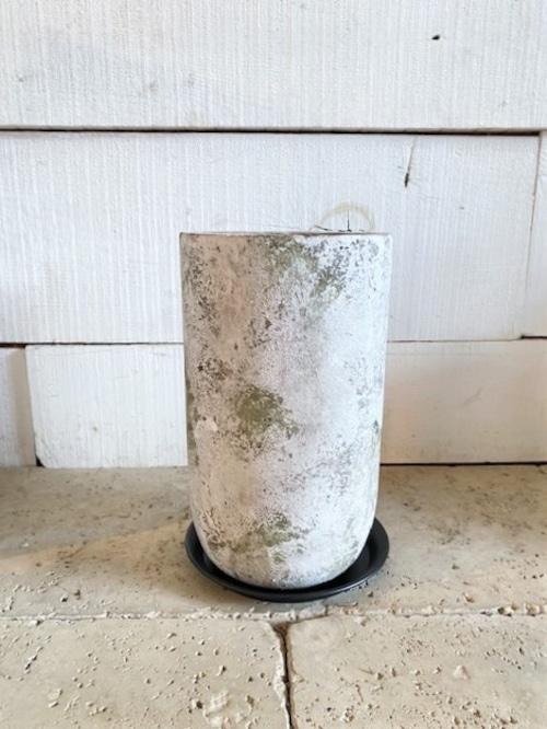 セメント鉢&アイアン皿(ロング) ※4号鉢サイズ