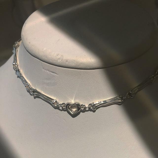 bone HEART necklace silver925 #LJ20017N