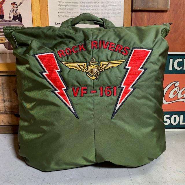 80's U.S.NAVY BAG FLYER'S HELMET ヘルメットバッグ 4thモデル 初期 HIALEAH INDUSTRIES社 スプリングフック  TALON ブラスジッパー VF-161 刺繍 美品 希少 ヴィンテージ BA-1382 RM1751H