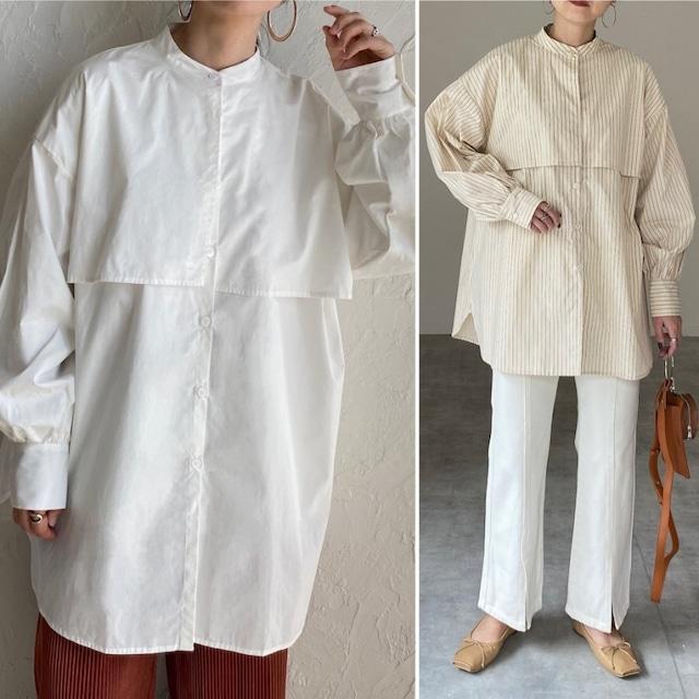 ◆即納◆ ヨークデザイン長袖ボリュームスリーブバンドカラーケープシャツ OP-t238
